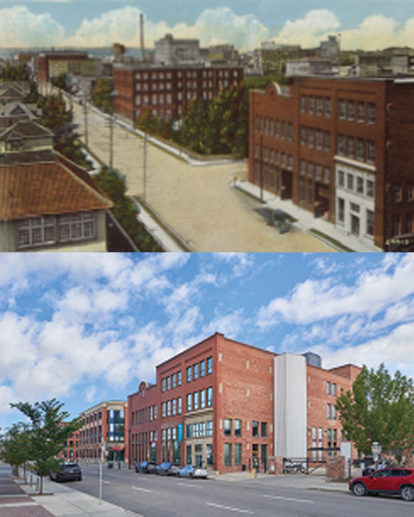 Old historical photo vs. recent exterior shot of Pilkington building.